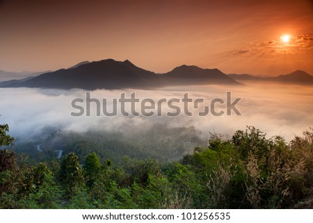 Pictures Sunrise fog from the top of mountain - stock photo