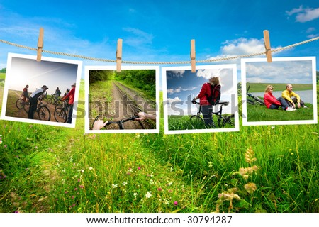 pictures with bikers on a clothes line - stock photo