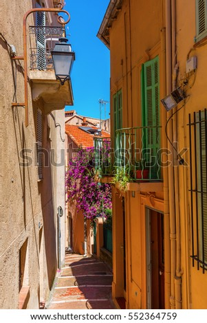 picturesque alley in the old town of Cannes, France