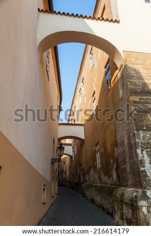 picturesque alley with arches in the Lesser Town of Prague, Czechia