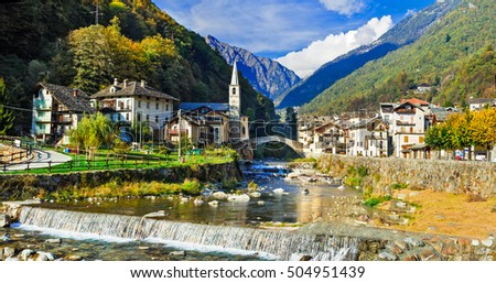 Picturesque Alpine village Lillianes in Valle d'Aosta, North Italy