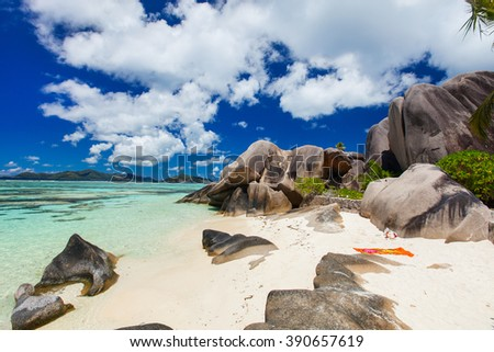 Picturesque Anse Source d'Argent beach on tropical La Digue island in Seychelles - stock photo