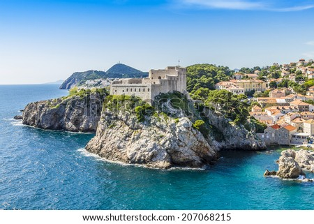 Picturesque bay with rocks near Lovrijenac Fort. Dubrovnik - UNESCO World Heritage Site. Croatia. - stock photo