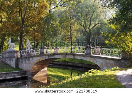 picturesque bridge with centaurs, Pavlovsk park, suburb of Saint Petersburg, Russia - stock photo