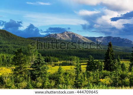 Picturesque Canadian mountains in summer - stock photo
