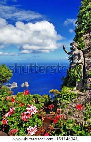 picturesque Capri island. Italian holidays - stock photo