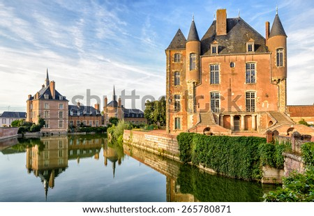 Picturesque castle on the lake in the Loire Valley in France - stock photo