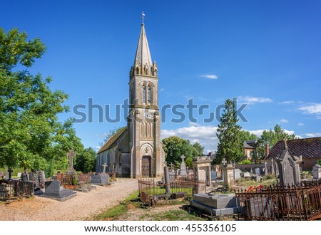 Picturesque church and cemetery of St Pair du Mont in Normandy, France - stock photo