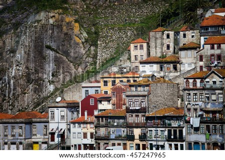 Picturesque city of Porto in Portugal, Europe, traditional Portuguese houses on steep cliff along Funicular dos Guindais