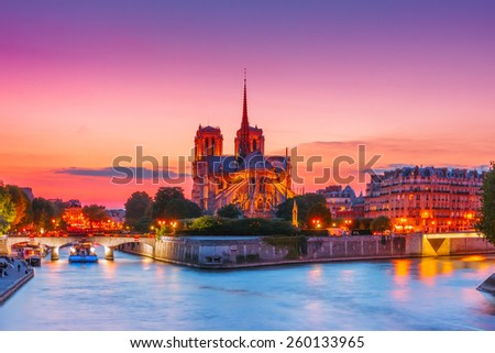 Picturesque cityscape of Cathedral of Notre Dame de Paris at sunset, France - stock photo