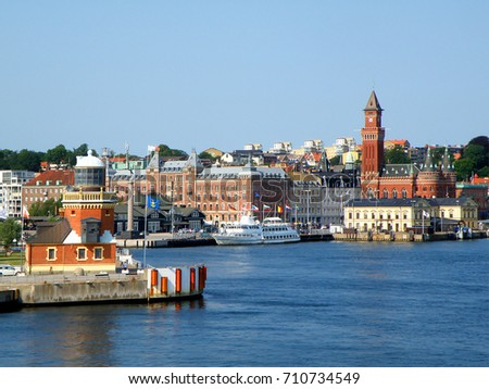 Picturesque cityscape of Helsingborg view from the ferry on The Sound or Oresund strait, Helsingborg, Sweden
