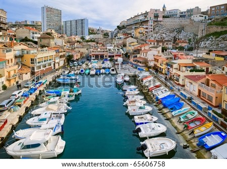 Picturesque colorful yacht port  in old center of Marseilles, France - stock photo