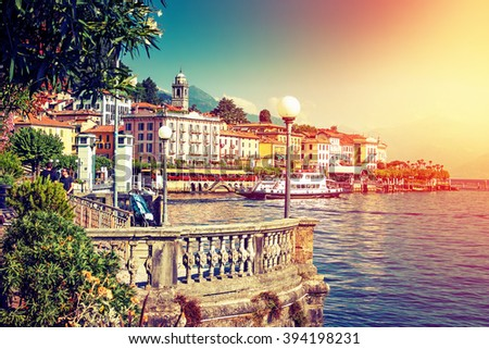 Picturesque Como lake and Bellagio town in summertime, Italy. - stock photo