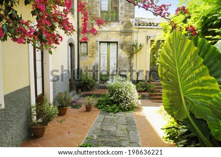 picturesque corner in Adrano Old Town, Sicily - stock photo