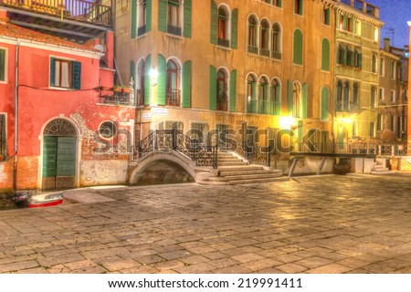 picturesque corner in Venice. hdr tone mapping.