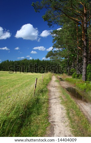 picturesque country road and field, cumulus clouds in background - stock photo