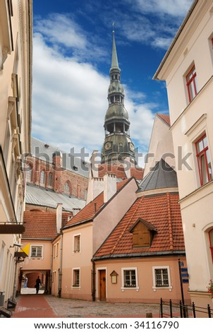Picturesque court yard in an old city Riga, Latvia. - stock photo