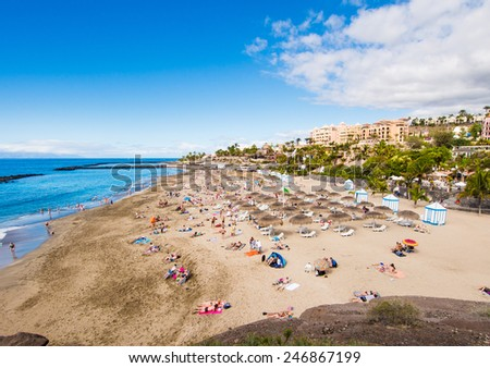 Picturesque El Duque beach in Costa Adeje. Tenerife. Canary islands, Spain - stock photo