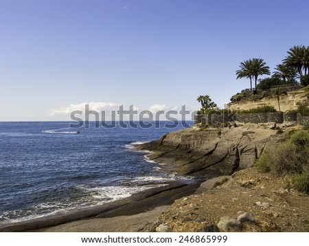 Picturesque El Duque beach in Tenerife. Canary islands, Spain - stock photo