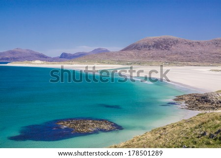 Picturesque empty white sand beach on Isle of Lewis in Scotland - stock photo
