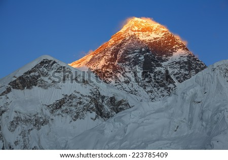 Picturesque Everest peak (8848 m) at sunset with blue sky. Canon 5D Mk II.