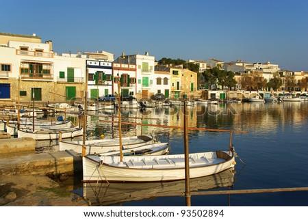 Picturesque fishermen village in Porto Colom (Majorca - Balearic Islands - Spain) - stock photo