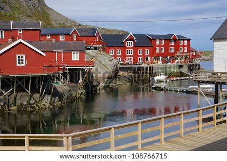 Picturesque fishing huts on Lofoten islands in Norway - stock photo