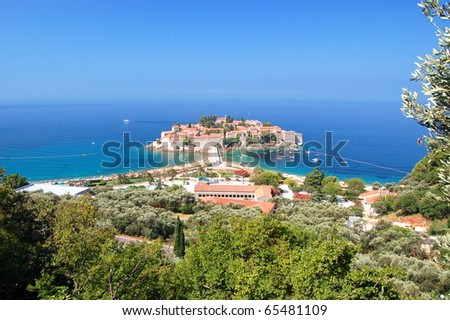 Picturesque gorgeous scenic view on Sveti Stefan, Montenegro