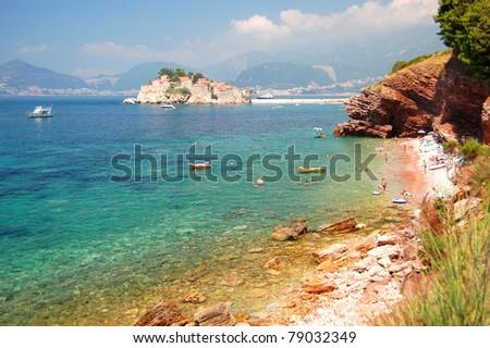 Picturesque gorgeous scenic view on Sveti Stefan, Montenegro - stock photo