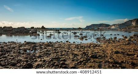 picturesque gorgeous sicilian  beach on a winter sunny day