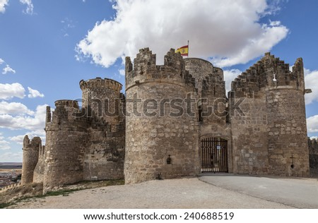 Picturesque hill castle, Belmonte, Cuenca (Castile-La Mancha), Spain  - stock photo