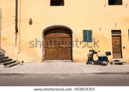 Picturesque Houses. Close up of street scene in Pistoia, Tuscany, Italy - stock photo