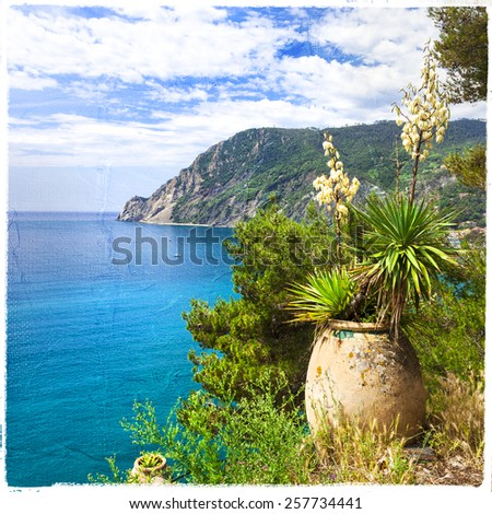 picturesque Italy - Monetrosso al Mare, artistic picture - stock photo