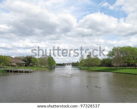 Picturesque lake in a park, Sugar Land, Texas, USA