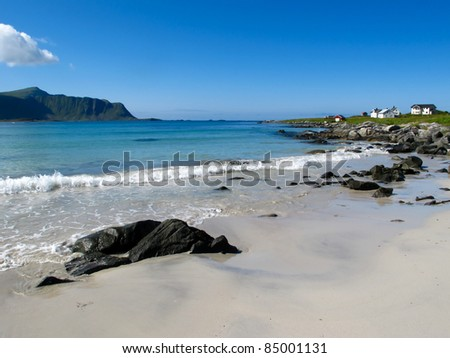 Picturesque landscape at Norway beach - stock photo