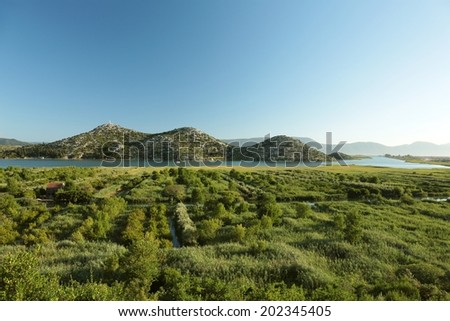 Picturesque landscape before dusk, Croatia. - stock photo