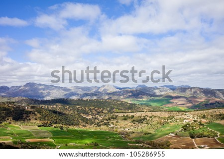 Picturesque landscape of Andalusia countryside in southern Spain, composition with space for text. - stock photo