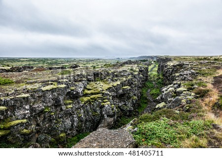 Picturesque landscape of the Canyon in Iceland