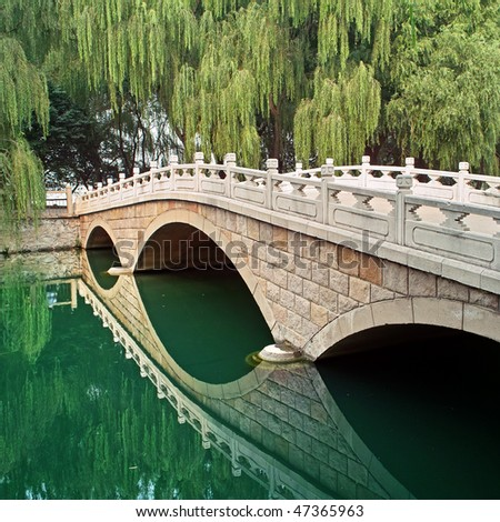 Picturesque landscape, stone bridge, river and willow, China - stock photo