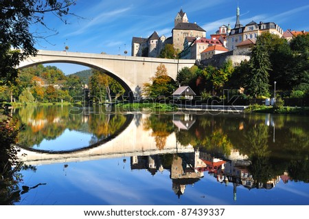 Picturesque landscape with bridge and castle Loket. Czech republic - stock photo