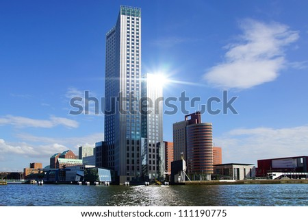 Picturesque landscape with modern architecture in Rotterdam