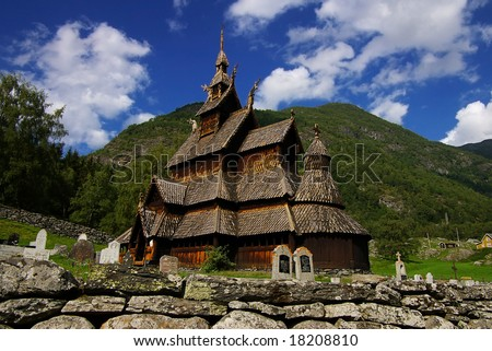 Picturesque landscape with the Borgund stave church in Norway - stock photo