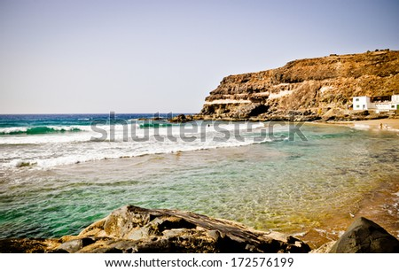 Picturesque Los Molinos beach. Fuerteventura - stock photo