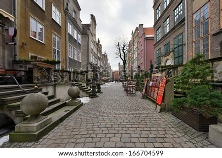 Picturesque Mariacka Street in the Old Town of Gdansk, Poland