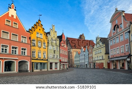 Picturesque medieval gothic houses in old bavarian town near Munich, Germany