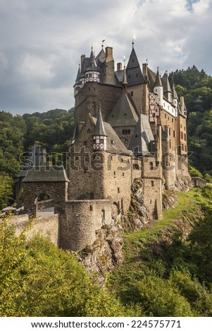 Picturesque medieval hill castle (German: Burg Eltz) nestled above the Moselle River between Koblenz and Trier, Germany