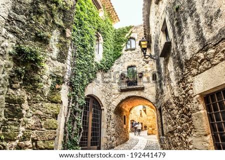 Picturesque medieval village of Pals, Costa Brava. - stock photo