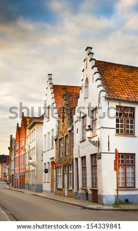 Picturesque medievalstreets of Bruges, Belgium, Europe - stock photo