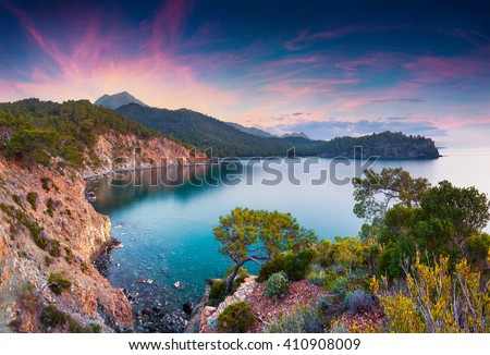 Picturesque Mediterranean seascape in Turkey. sunrise in a small bay near the Tekirova village, District of Kemer, Antalya Province. Artistic style post processed photo.