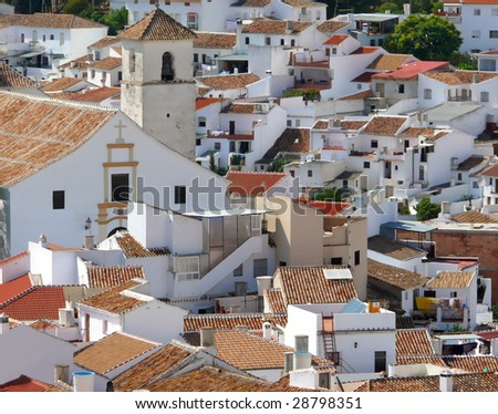 Picturesque, Mediterranean, white town of Colmenar. Andalusia.